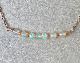 ROSE GOLD Welo Opal Bar Necklace