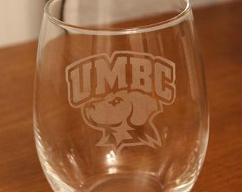 UMBC 21 oz Etched Stemless Wine Glass, UMBC, UMBC Wine Glass, Dishwasher Safe