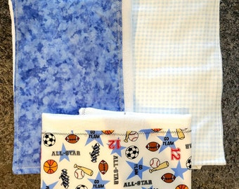 3 Cloth Diaper Burp Rag Bundle