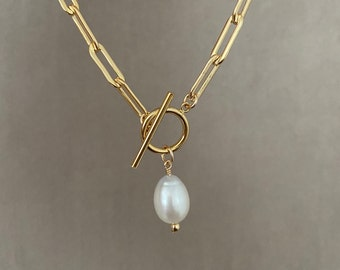 """Paperclip link chain and Toggle necklace with freshwater pearl charm, 14Kt goldfilled, 19"""" long, Classic large paperclip link"""