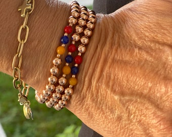 Armenian flag bead bracelet, 14Kt Rose gold filled