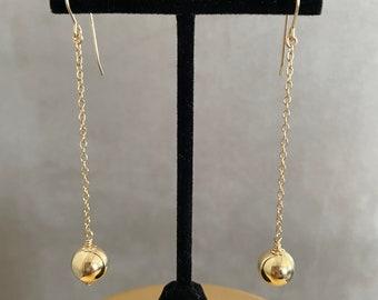 Gold ball drop earrings, gold ball dangle earrings, 14Kt goldfilled ball earrings, dangle earrings for her