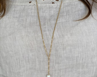 """Gold chain Lariat with pearl drop, 14Kt Gold filled, 35"""" long, wire wrapped freshwater pearl"""