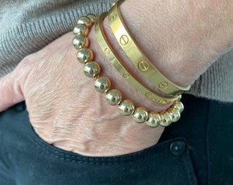 Large gold ball bracelet on chain, 14Kt Gold filled, 8mm ball bracelet with clasp
