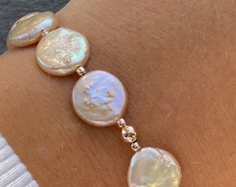 Pearl disc bracelet, freshwater pearl coins, pearl disc, Rose gold filled