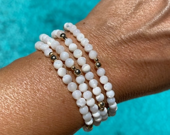 Set of two Mother of Pearl bracelets, 14Kt goldfilled, Mother of Pearl