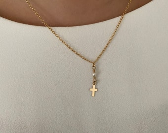 Cross necklace gold and pearl, Pearl crowned cross necklace, 14Kt Goldfilled, freshwater Pearl