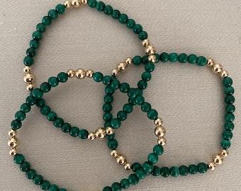 Malachite bracelet, 14Kt goldfilled, natural malachite.