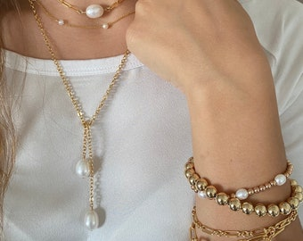Paperclip link chain and Freshwater pearl, classic small Paperclip link, 14Kt gold filled