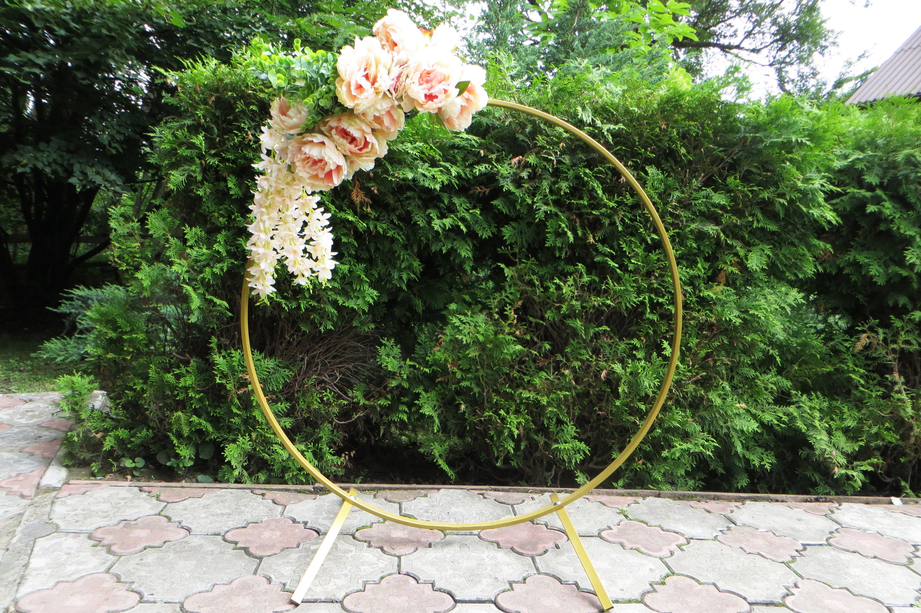 Gold Colour Table Metal Arch Metal Round Wedding Arch Moon For Etsy