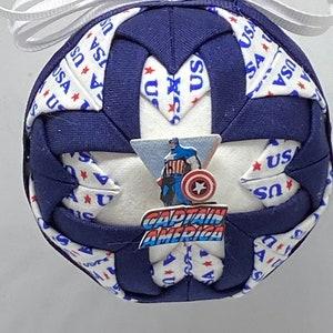 Handmade Folded Fabric Ornament with Captain America Decoration