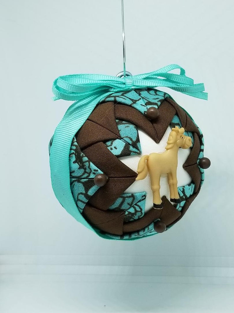 Handmade Folded Fabric Ornament with Horse Decoration