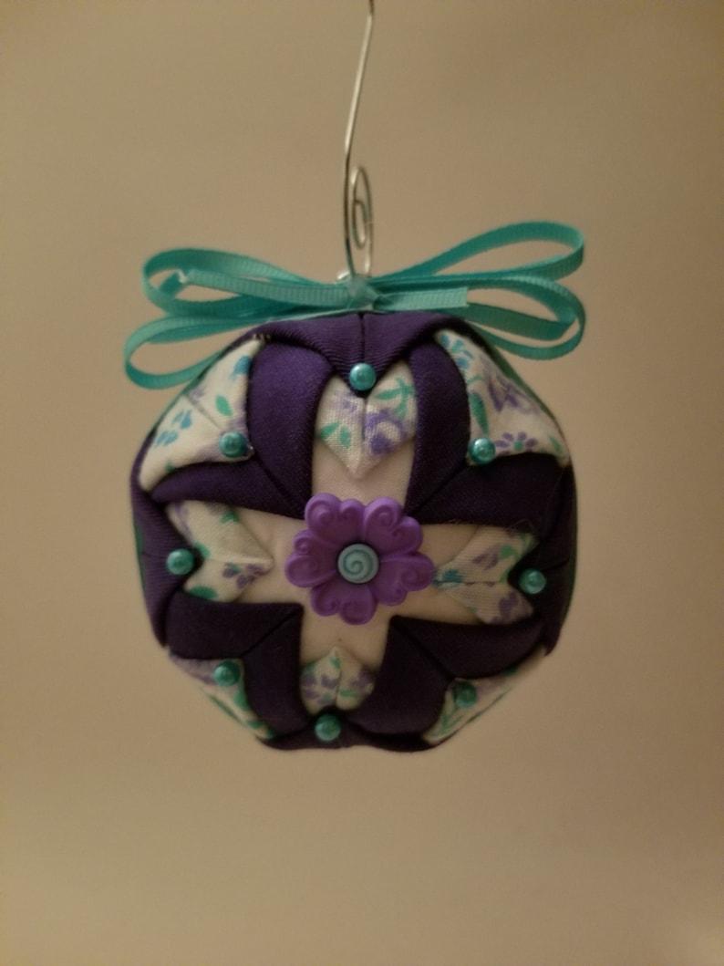Handmade Folded Fabric Ornament with Purple Flower Decoration