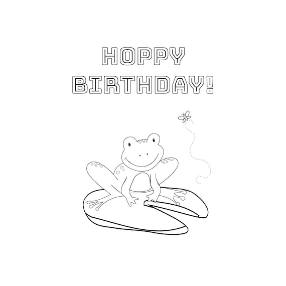 Cute Coloring Frog Birthday Card Download Print And Color Etsy