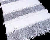 Morocco White Wedding Blanket, Handmade Moroccan Crib Throw Traditional White Handira, Tribal Bed Throw Hand Crafted by Berber Women