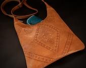 Boho Leather Crossbody Bag, Leather Handbag, Natural Tan Moroccan Shoulder Bag 9x10 inch, Boho Shoulder Bag, Authentic Leather Satchel