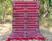 Red Berber Rug Kilim Moroccan Rug Flatweave Morocco Rug Boho Picnic Rug Kelim handwoven Carpet