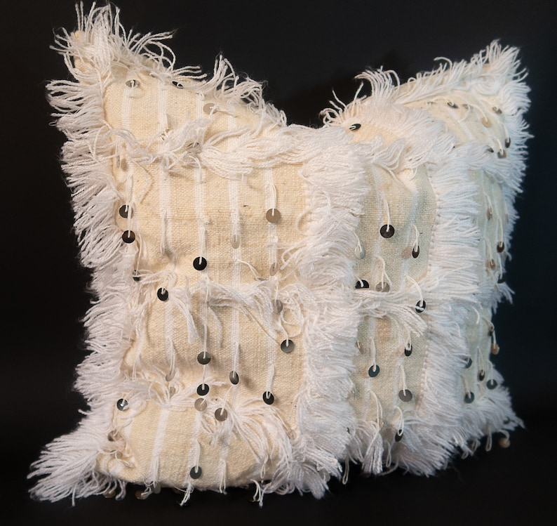 Sequins White Throw Pillow Moroccan