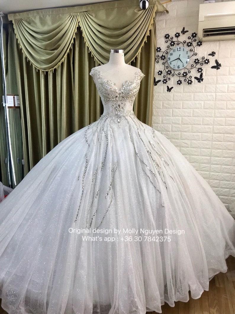 f0a368618103 White Wedding Dress Wedding Dress White Ballgown Sparkly | Etsy