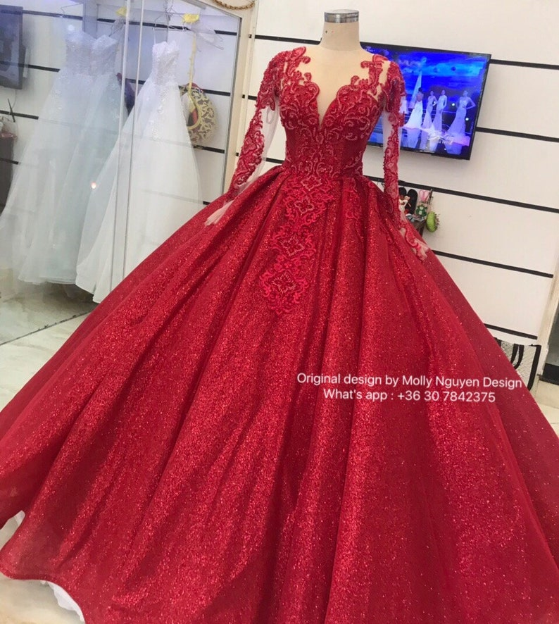 a4dfe8e09a Red Gown Wedding Gown Modern Evening Wear Ballgown Custom