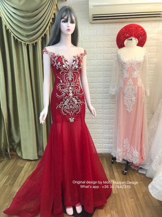 Red Evening wear evening dress wedding Dress Luxury | Etsy