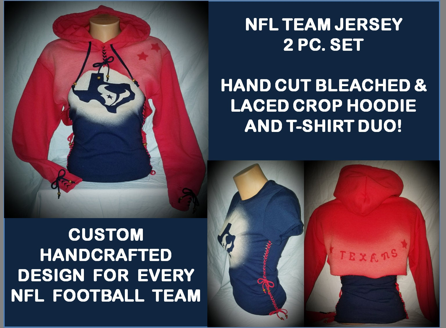 7e059e05 2 pc. set Womens girls NFL TEAM Custom crop hoodie t shirt set sweatshirt  Bleached and hand cut laced. Pick your team Jersey!
