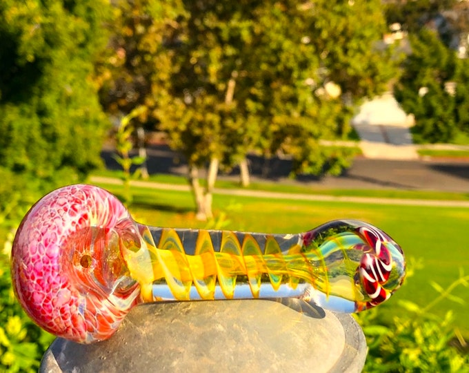 Girly Tobacco Smoking thick Glass Pipes 24k gold mix