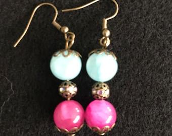 Boho Style Teal and Fuchsia earrings