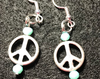 Silver and teal peace sign earrings