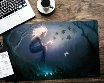 "Radiant Faerie - MTG Playmat, 24x14"", Giant Mousepad, gamemat, Magic: the Gathering, Glow, Fairy, Radiance, Moth, Nature, Gaea, Morgana"