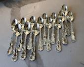 14 Sterling, Whiting Louis XV, teaspoons, monogrammed