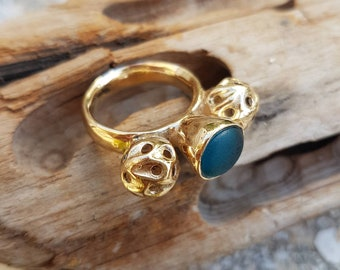 Bronze metal clay ring with genuine sea glass Handmade bronze clay ring Sea glass Beach find jewelry for her Bronze metal clay jewelry