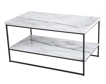 2 Tier Marble Print Coffee Table