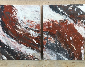 Terracotta and Grey Marble Painting