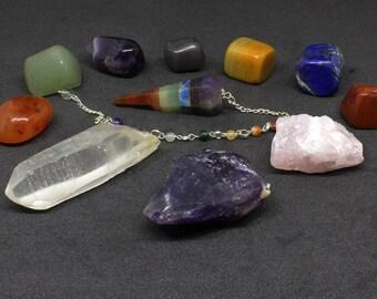 11 pieces Healing Crystal Kit, Healing Crystal Anxiety, Healing Crystals, Chakra Stone Set, Chakra Crystal Set, Raw Amethyst Crystal, Quartz