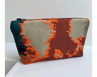 Colorful cosmetic bag with lava pattern silk bag makeup bag never go without for your makeup in Honolulu makeup bag Small Makeup bag