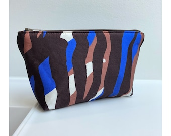 Striped cosmetic bag in blue cream and brown silk bag makeup bag never gowithout for your makeup in Oxford small makeup bag