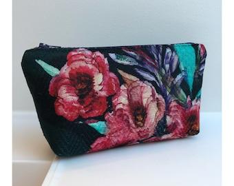 Green Cosmetic bag with floral print, makeup bag, never go without-for your makeup in florence, makeup bag, small makeup bag