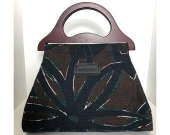 Brown tote handbag with floral motif never go without for brunch in Paris bag with handle bag handbag