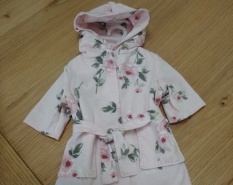 Dolls pink flowered hooded dressing gown