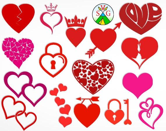 SALE - Heart svg cut files - love cricut files - Amur silhouette - Heart  clipart files - svg, dxf, eps, png - ST103