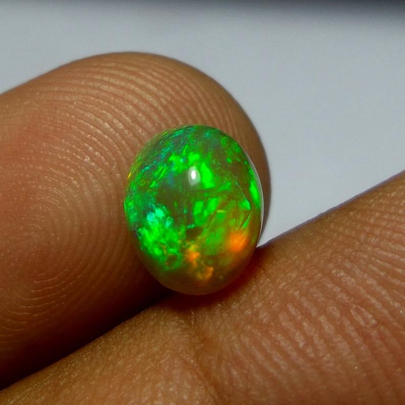 Fire Opal Loose Gemstone 1.4 Carat 9x7x5 MM Natural Green Fire Ethiopian Welo Fire Opal Oval Shape Cabochon