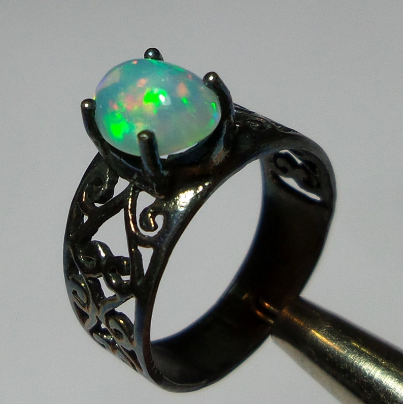 8x6 MM 925 Oxidized Sterling Silver Jewelry Unique Ring Natural Multi Color Ethiopian Welo Fire Opal Oval Shape Cabochon Fine Ring