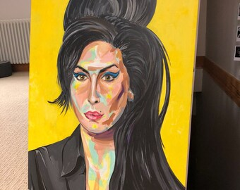 Original acrylic canvas Amy Winehouse painting.