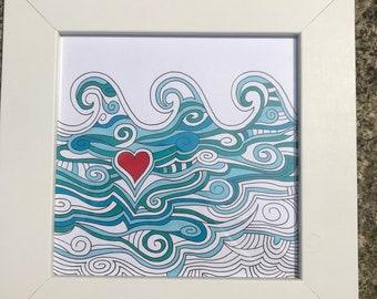 Original, framed and hand-drawn ocean/beach/seaside art work