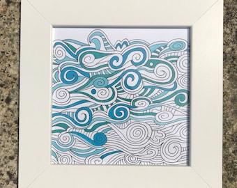 Original, framed and hand-drawn ocean/waves/beach/seaside art work