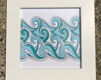 Original, framed and hand-drawn wave/ocean/beach/seaside art work