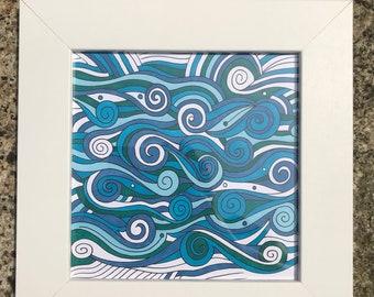 Original, framed and hand-drawn ocean/seaside/beach art work