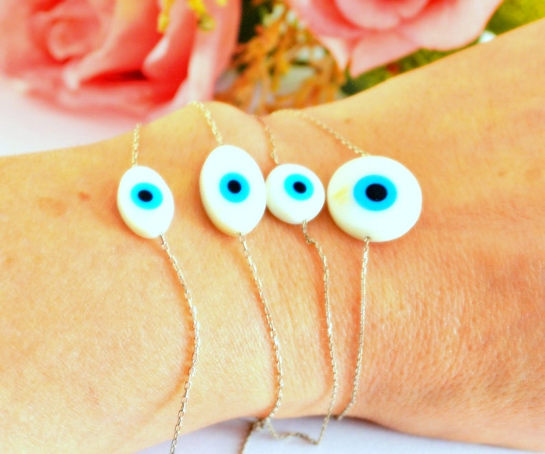 Silver Nazar Bracelet Black Magic  Bracelet Bad energy Protection Bangle Blue eye Jewelry Turkish Amulet Bangle Middle East Lucky Charm