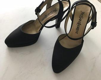 9feed945a0f Vintage Yves Saint Laurent YSLBlack Heels Size 5.5